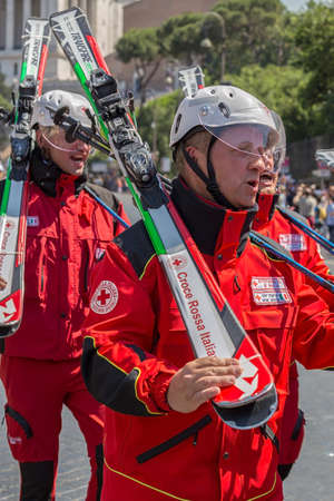 ROME, ITALY - JUNE 2, 2017: Skiers of the Italian Red Cross troops participating at the parade of the national day of Italy.