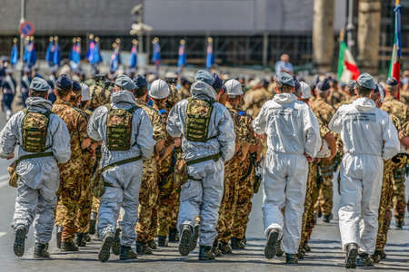 ROME, ITALY - JUNE 2, 2017: Military parade at Italian National Day. Aeronautica militare troops in formation. Picture is taken between Piazza Venezia and Teatro di Marcello. Editorial
