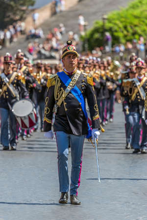 ROME, ITALY - JUNE 2, 2017: Military parade at Italian National Day. Commander in front. Picture is taken between Piazza Venezia and Teatro di Marcello.