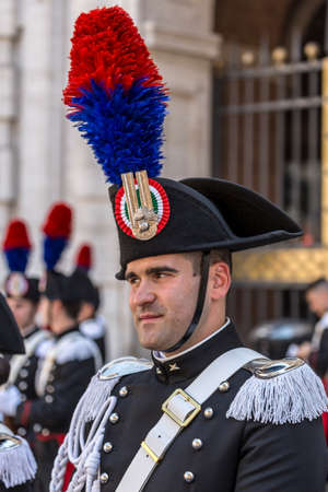 ROME, ITALY - JUNE 2, 2017: Military parade at Italian National Day. Portrait of soldier.