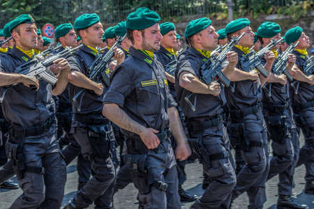 ROME, ITALY - JUNE 2, 2017: Military parade at Italian National Day. Soldiers of anti-terrorist troops in formation. Between Piazza Venezia and Teatro di Marcello.