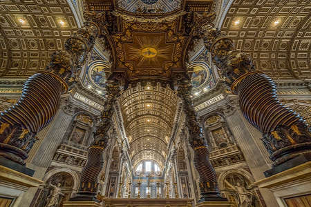 VATICAN, ROME, ITALY - JUNE 1, 2017: Panoramic view of interiors and architectural details of St Peter Basilica in the Vatican. Renaissance church and the papal enclave. Editorial