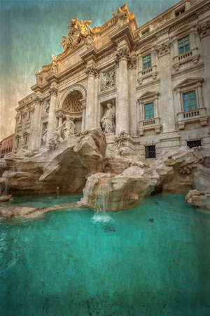 flowing water: Old photo with Trevi Fountain, the baroque fountain in Rome, Italy, at dusk. Vintage processing.