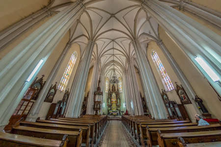 designated: NOVI SAD, SERBIA - JULY 30, 2017: Inside of St. Marys Cathedral, a Roman Catholic church dedicated to the feast of Holy Name of Mary. City was designated as the European capital of culture in 2021. Editorial