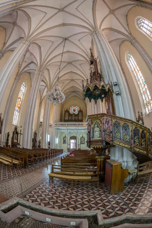 NOVI SAD, SERBIA - JULY 30, 2017: Inside of St. Marys Cathedral, a Roman Catholic church dedicated to the feast of Holy Name of Mary. City was designated as the European capital of culture in 2021. Editorial