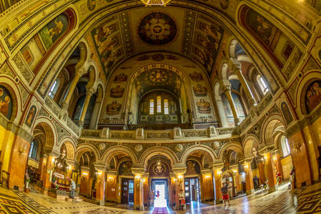 TIMISOARA, ROMANIA - AUGUST 16, 2017: Interior of Timisoara Orthodox Cathedral, the seat of Metropolis of Banat. Construction is dedicated to the Three Holy Hierarchs. Editorial