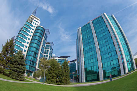 BELGRADE, SERBIA - OCTOBER 21, 2017: Office buildings ensemble located in a new business center on Belgrade, Crowne Plaza. Editorial