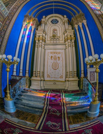 ORADEA, ROMANIA - JANUARY 27, 2018: Altar inside of the Orthodox Synagogue. It was built in 1890 after the plans of Knapp Ferencz in neo-maorical style. Editorial