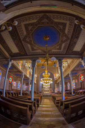 ORADEA, ROMANIA - JANUARY 27, 2018: Inside of the Orthodox Synagogue. It was built in 1890 after the plans of Knapp Ferencz in neo-maorical style.