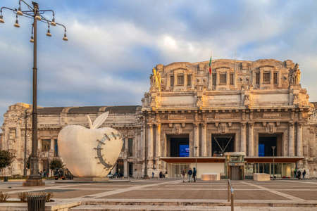 MILAN, ITALY - DECEMBER 11, 2016: The monumental sculpture ,,The Reintegrated Apple