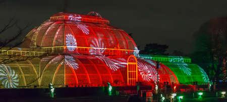 LONDON, ENGLAND - NOVEMBER 29, 2017: Laser projections at Royal Kew Gardens, during Christmas time.