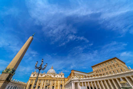 ROME, VATICAN - JUNE 01, 2017: Fish eye view of buildings from St. Peters Square, Vatican City.