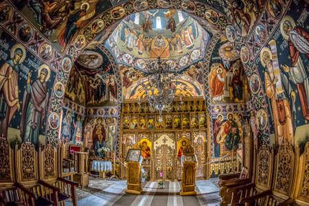 DUBOVA-ESELNITA, ROMANIA - NOVEMBER 4, 2017: Inside the orthodox monastery of Mraconia, also called the