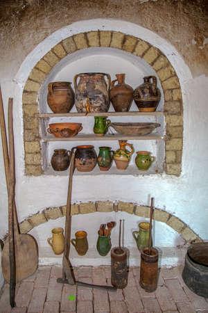 Specific objects from one interior of Slovakian farmhouse, the Banat region (part of Transylvania), Romania.