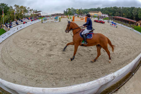 HERNEACOVA, ROMANIA - SEPTEMBER 24, 2017: Arena for competition at show jumping on equestrian event ,,Herneacova International Jumping