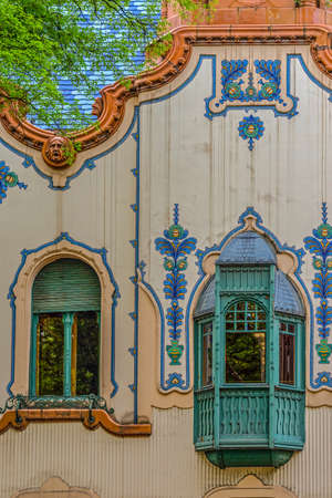 SUBOTICA, SERBIA, VOJVODINA - APRIL 28, 2018: Detail of House of architect Ferenc Raichle (Raichle Palace) in Hungarian Art Nouveau style. It was built in 1904 and now is a modern art gallery. 에디토리얼