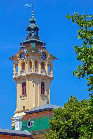 The tower clock of the town hall of Szeged, Hungary. Was built in a neo-baroque style in 1799.