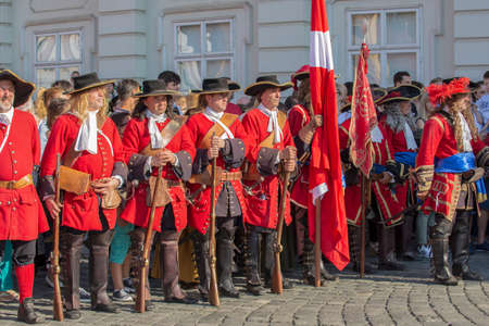 TIMISOARA, ROMANIA - MAY 12, 2018: Medieval soldiers on the street. Show organized by City Hall Timisoara to celebrate the 300 years since the entry of Eugene of Savoy into the fortress.