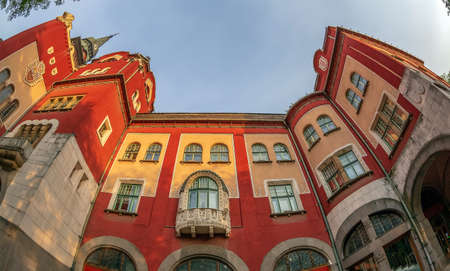 SUBOTICA / VOJVODINA, SERBIA - APRIL 28, 2018: Part of historic building of city hall built in Art Nouveau style between 1908-1910. Subotica is second town in the region of Vojvodina. Editorial