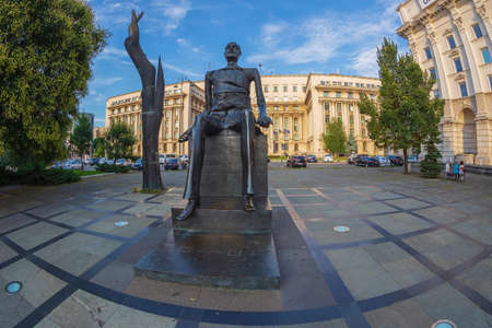 BUCHAREST,ROMANIA-JULY 17,2018:Statue of Iuliu Maniu in the Revolution Square.He was a Romanian politician,leader of the National Party and Prime Minister of Romania for three terms during 1928-1933.