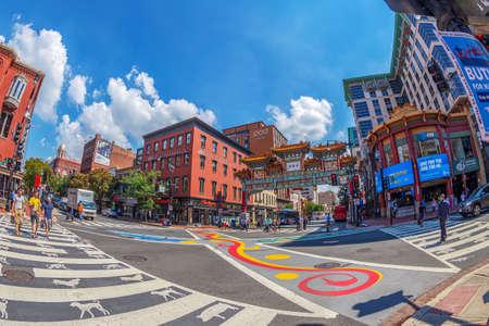 WASHINGTON DC, USA - SEPTEMBER 5, 2018: Arch in Chinatown to celebrate friendship with Washingtons sister, city of Beijing.