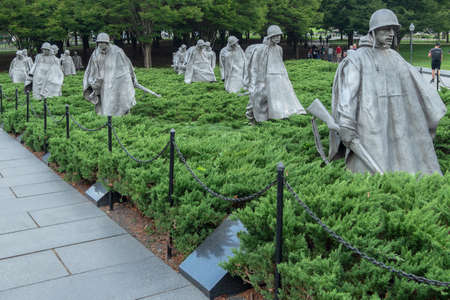 WASHINGTON DC, USA - AUGUST 31, 2018: The Korean War Veterans Memorial that commemorates those who served in the Korean War. Located in West Potomac Park, southeast of the Lincoln Memorial.