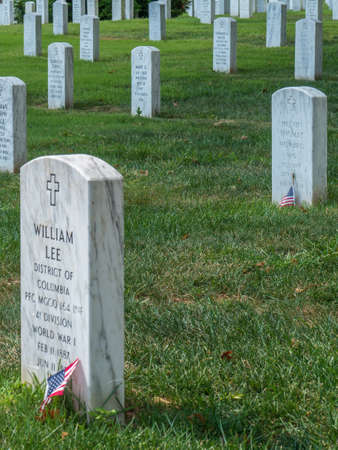 ARLINGTON, USA - AUGUST 31, 2018: Arlington National Cemetery in whose the dead of the nations conflicts have been buried, beginning with the Civil War, as well as interred dead from earlier wars.