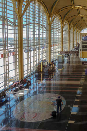 ARLINGTON, USA - SEPTEMBER 6, 2018: Inside Ronald Reagan National Airport that acts as the primary commercial airport serving Washington D.C. and the Baltimore–Washington metropolitan area.