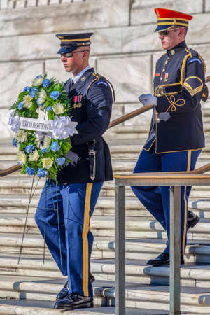ARLINGTON, WASHINGTON, USA - SEPTEMBER 6, 2018 : Changing of the guard at the Tomb of the Unknown Soldier at Arlington National Cemetery. Editorial