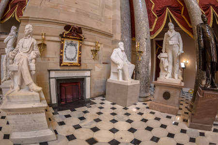 WASHINGTON DC, USA - SEPTEMBER 4, 2018: Large angle view at interior of Statuary Hall in the US Capitol building. Editorial