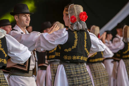 ROMANIA, TIMISOARA - JULY 7, 2016: Dancers from Romania in traditional costume, present at the international folk festival,