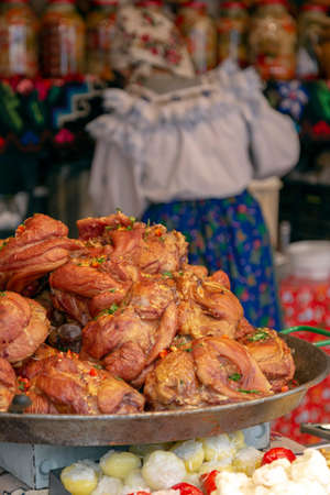 Aspects from the street Christmas fair with traditional products from Maramures area and specific atmosphere. Фото со стока