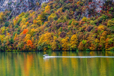Autumn at the Danube Gorges, the border between Romania and Serbia. View from Serbian part.