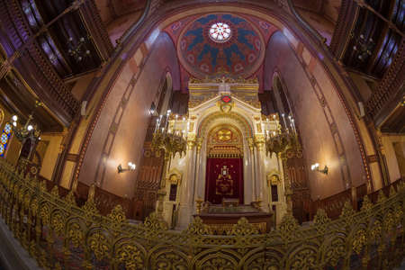 BUDAPEST, HUNGARY-DECEMBER 18, 2018: Interior of the Great Synagogue in Dohany Street, the largest synagogue in Europe and the second largest in the world. Built between 1854-1859 for 3000 people
