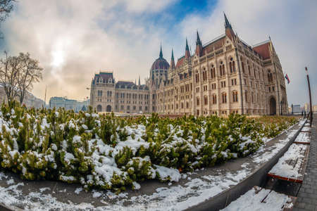 Budapest, Hungary - December 19, 2018: Hungarian Parliament Building, House of the Nation, the seat of the National Assembly of Hungary. The largest building in Hungary and tallest in Budapest. Editorial