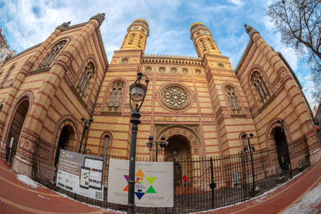 BUDAPEST, HUNGARY - DECEMBER 18, 2018: Exterior of the Great Synagogue in Dohany Street, the largest synagogue in Europe and the second largest in the world. Built between 1854-1859 for 3000 people.