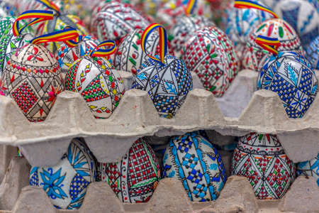 Traditional painted and decorated Easter eggs exposed for sale at one traditional fair. Specific for the N-E of Romania.