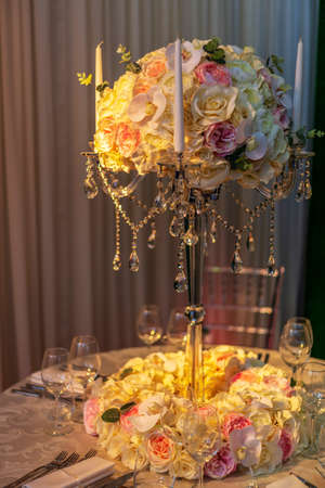 Special arrangement for the wedding dinner party.