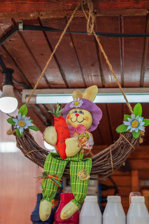 Small multi colored figurine to decorate the house for Easter, made from children.