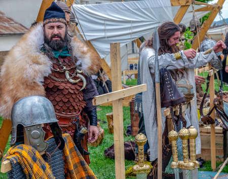 ALBA IULIA, ROMANIA - APRIL 29, 2017: Camp of Dacian soldiers in battle costume, present at APULUM ROMAN FESTIVAL, organized by the City Hall.