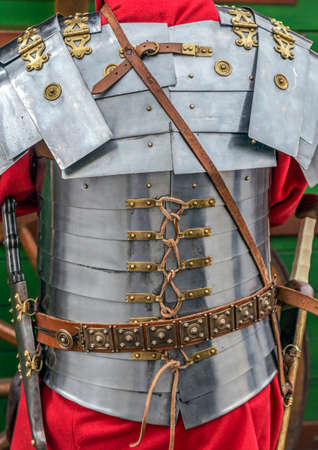 Detail of the ancient costume of a Roman soldier. Фото со стока