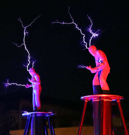 Timisoara, Romania - March 21, 2019: Arcadia Company Electric Show - the Tesla Coil Electric show, organized together with the City Hall.
