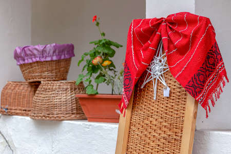 Folk decorative objects, made from twigs and wicker, in one typical farmhouse of the Banat region (part of Transylvania), Romania.