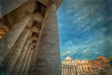 Old photo with view at columns in St. Peters Square, Vatican City. Vintage processing.