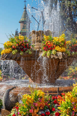 TIMISOARA,ROMANIA-APRIL 20,2019:Floral decorations in Victory Square on the occasion of the Flower Festival organized by the City Hall. Old fountain is support and Metropolitan cathedral in background