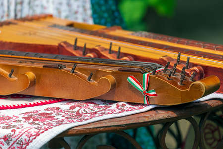 Detail of one traditional Hungarian musical instrument.