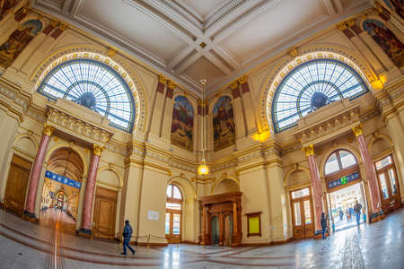 BUDAPEST,HUNGARY-DECEMBER 18,2018:Interior of Budapest Keleti railway station-Budapest Keleti palyaudvar.Designed in eclectic style by Gyula Rochlitz and Janos Feketehazy,constructed between 1881-1884
