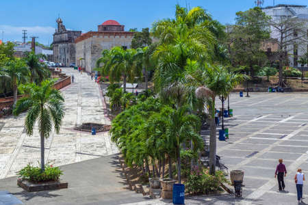 SANTO DOMINGO, DOMINICAN REPUBLIC - MARCH 13, 2020: Square of Spain and Calle Las Damas, the first street in city and in America, built in 1502.