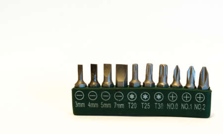toolset: Kit of 10 screw bits isolated