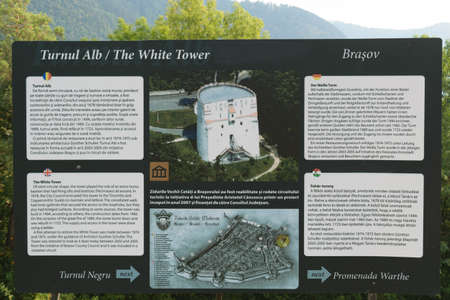 brasov: Brasov,Transylvania,Romania - September 22 2016 : Brasov White Tower Touristic info panel circa 2016